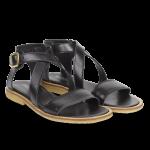 Sandal m. krydsende remme og spænde ved anklen