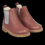 Støvlet med uldfoer, elastik og lyn
