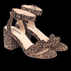 Sandal med blokhæl og flæse