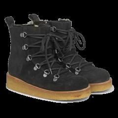 Uldforet støvle med snøre og lynlås