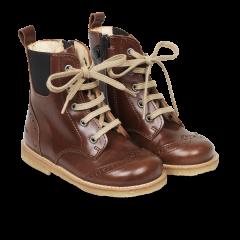 Snørestøvle med elastik og lynlås