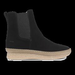 Støvle med elastik og lynlås.